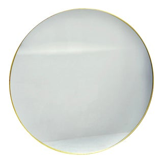 Large Round Brass Framed Gio Ponti Style Mirror For Sale
