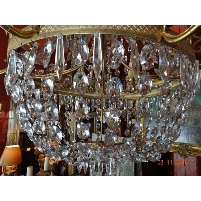 Empire 19th Century French Empire Crystal Chandelier For Sale - Image 3 of 12