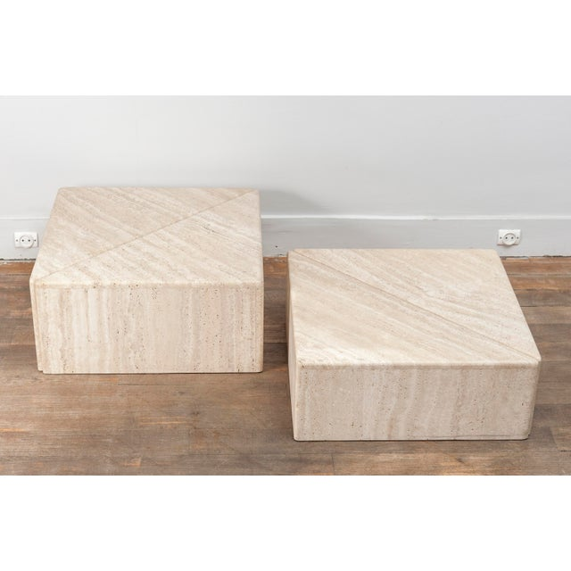 A Large Set of Eight Travertine Elements Forming One or More Coffee Tables For Sale - Image 10 of 11