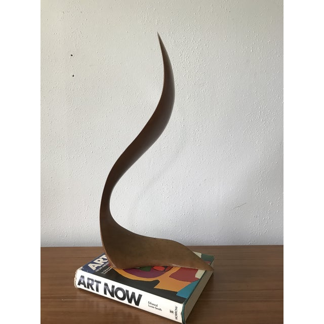 1960s Mid Century Signed Wood Flame Sculpture For Sale - Image 5 of 8