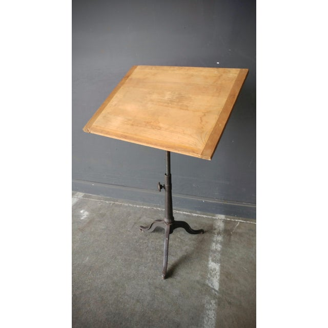 Industrial Drafting Table With Cast Iron Base For Sale - Image 13 of 13