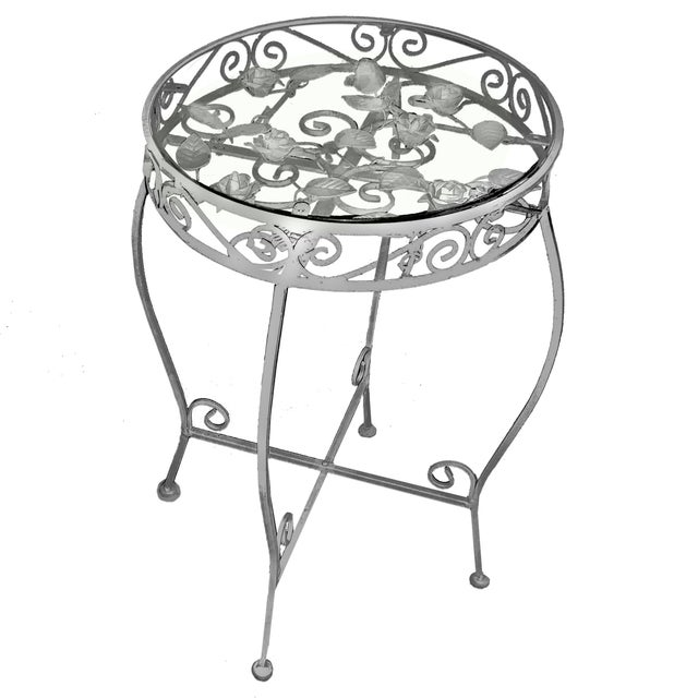 Victorian Palm Springs Regency White Iron Rose Bud Decorated Side Tables - a Pair For Sale - Image 3 of 12