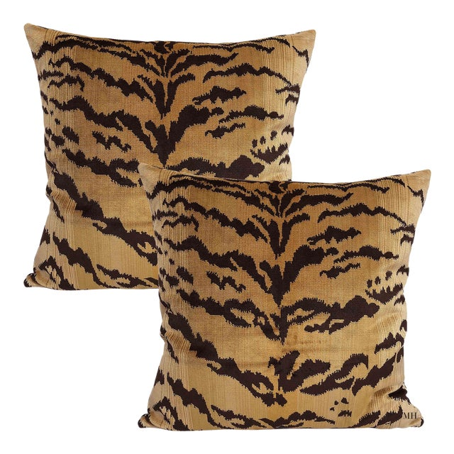 Nobilis of Paris From the Salambo Collection, Velvet Tiger Down Feather Accent Pillows - Set of 2 For Sale