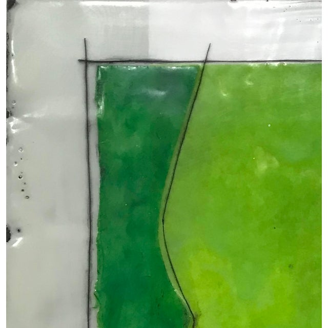 "2010s Gina Cochran ""Perceptions No. 26"" Encaustic Collage Painting - Emerald & Peridot For Sale - Image 5 of 5"