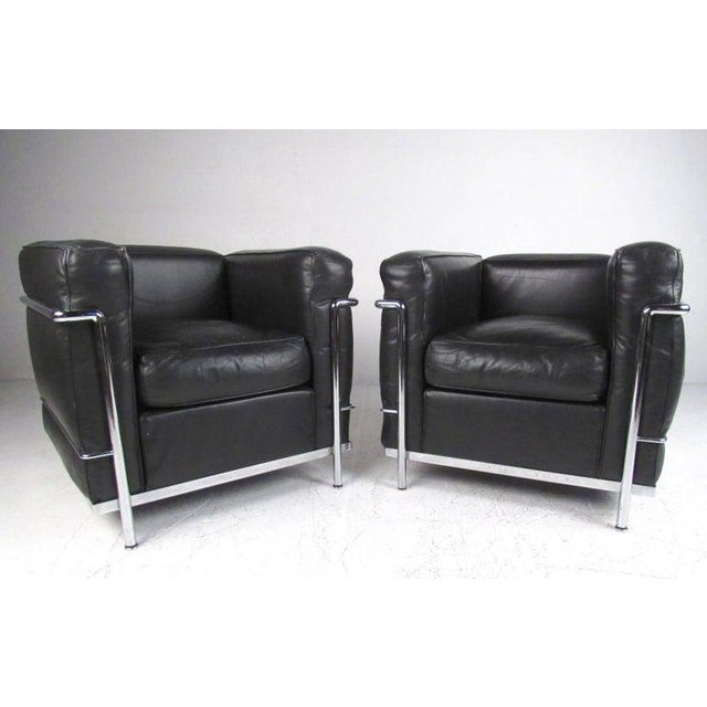 1980s Le Corbusier Lc Leather and Chrome Living Room Set for Cassina For Sale - Image 5 of 12