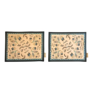 South African Hand Made Placemats Print on Linen Blend - a Pair- a Pair For Sale