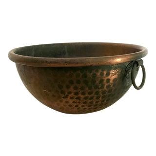 Antique Hammered Copper Cordon Bleu France Mixing Bowl For Sale