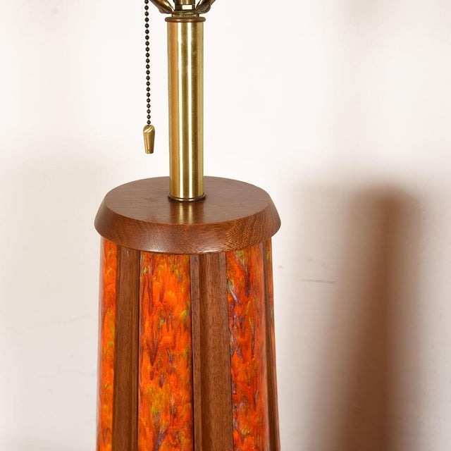 Mid-Century Walnut & Orange Enamel Lamp's, Pair For Sale - Image 9 of 10