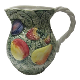 Vintage Hand-Painted Majolica Pitcher From Italy For Sale