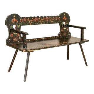 Late 19th Century Antique Original Black Painted Bench With Bright Flowers For Sale