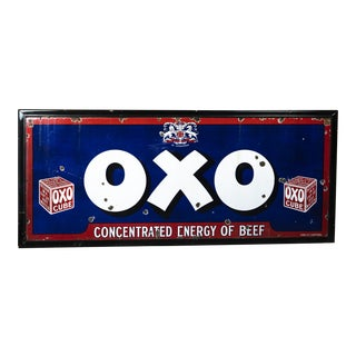 Antique Porcelain Enamel Oxo Beef Cube Sign For Sale