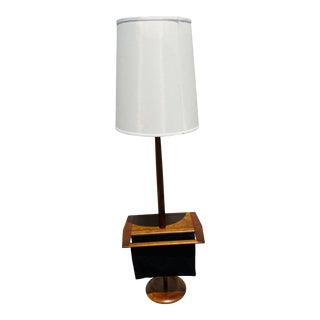 Laurel Mid-Century Walnut Floor Lamp With Magazine Holder For Sale