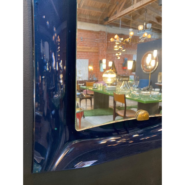 Metal Fontana Arte Blue Mirror, Italy C. 1950s For Sale - Image 7 of 9