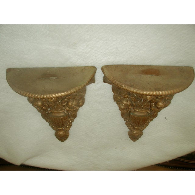 Vintage 1946 Ornate Gilt Molded Brackets - A Pair - Image 7 of 8