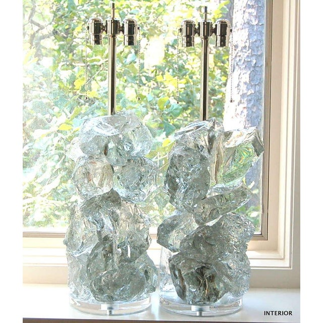 Rock Candy glass table lamps by Swank Lighting! These exquisite crystal cluster lamps in ARCTIC ICE are made of 100%...