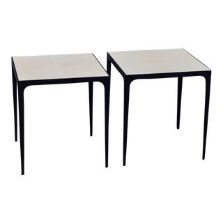 Pair of 'Esquisse' Parchment and Wrought Iron Side Tables by Design Frères For Sale