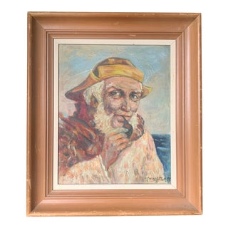 Mid Century Sailor Painting, Signed For Sale