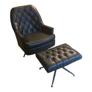 Vintage Berkline Club Chair & Ottoman - A Pair