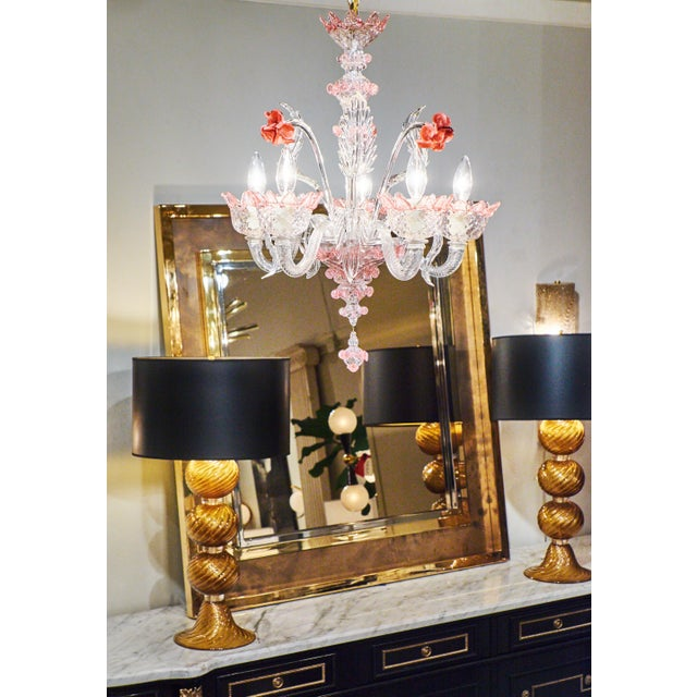 Murano Pink Rose and Crystal Glass Chandelier - Image 2 of 10
