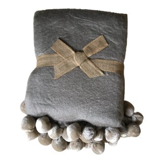 Wool Blend Taupe Pom-Pom Throw For Sale