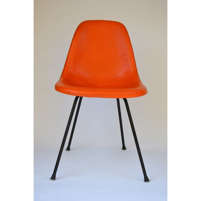 Mid-Century Modern Herman Miller Eames Orange Vinyl Side Shell Chair For Sale - Image 3 of 9
