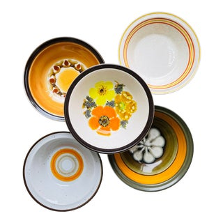 Vintage Mismatched Stoneware Cereal Bowls- Set of 5 For Sale