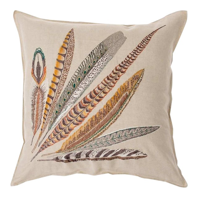 Pheasant Feather Right Pillow For Sale