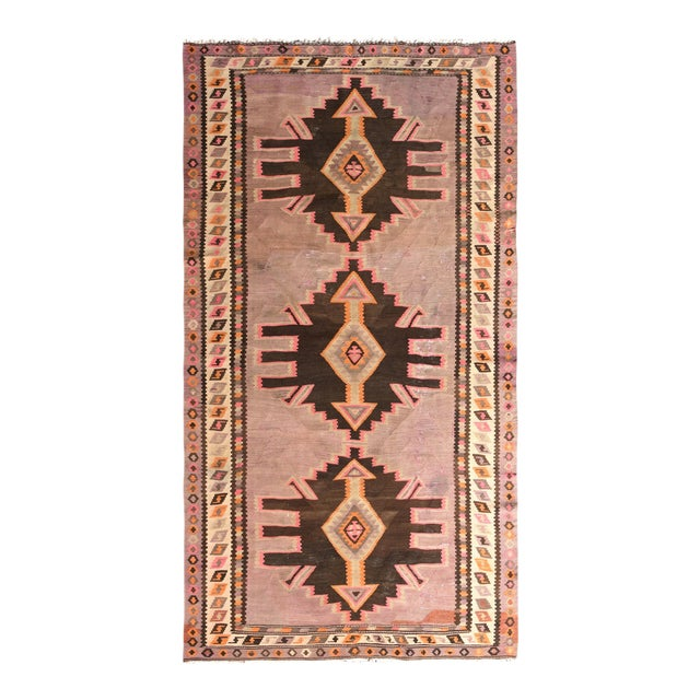 Mid-Century Vintage Persian Kilim Rug in Lavender and Beige Brown Geometric Pattern For Sale