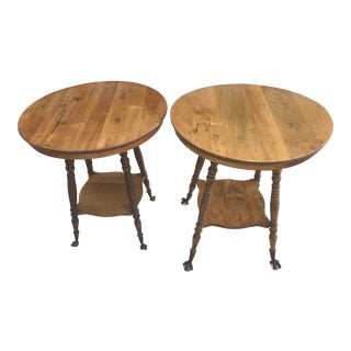 Victorian Oak, Claw Foot Accent Tables - a Pair For Sale