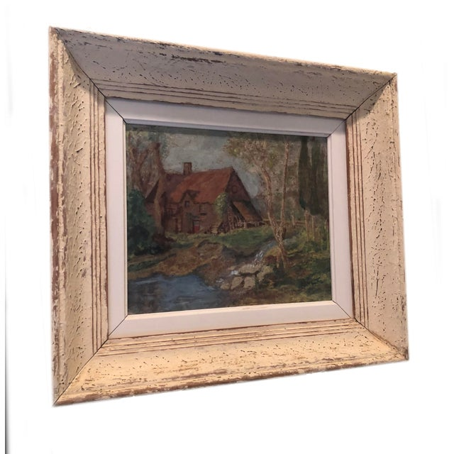 Paint Vintage French Oil Painting Landscape Thatched Roof Cottage For Sale - Image 7 of 7