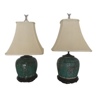 Antique Chinese Green Drip Glaze Earthenware Ginger Jar Table Lamps - a Pair For Sale