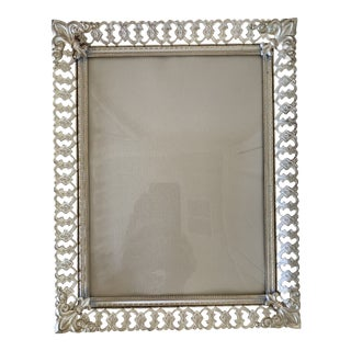1950s Mid-Century Frame With Convex Glass Fleur-De-Lies Corners For Sale