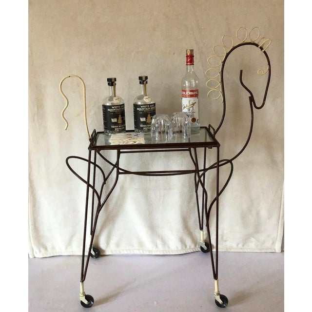 Mid 20th Century 1950's Horse Pony Rolling Serving Bar Cart By Frederick Weinberg For Sale - Image 5 of 13