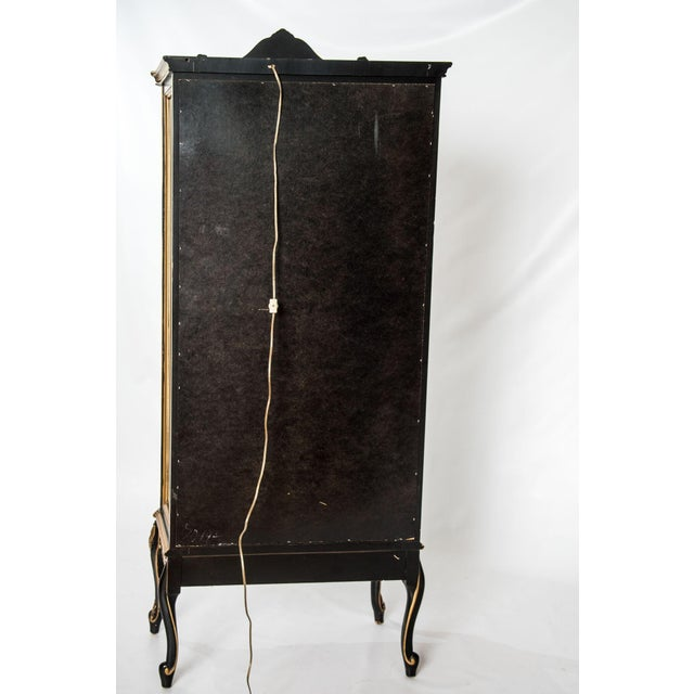 Black and Gold Mirrored Curio Cabinet For Sale - Image 10 of 10