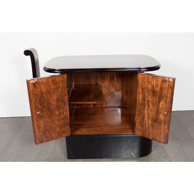 Streamlined Art Deco End Table or Dry Bar Cabinet in Book-Matched Exotic Walnut For Sale - Image 4 of 10