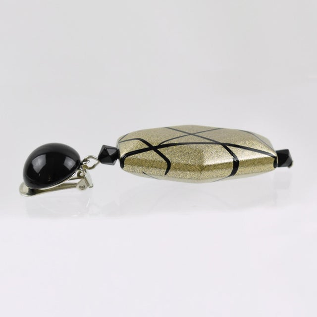 Angela Caputi Angela Caputi Dangling Clip on Earrings Black and Pale Gold Resin For Sale - Image 4 of 6