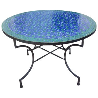 "Moroccan 48"" Blue/Green Round Mosaic Dining Table For Sale"