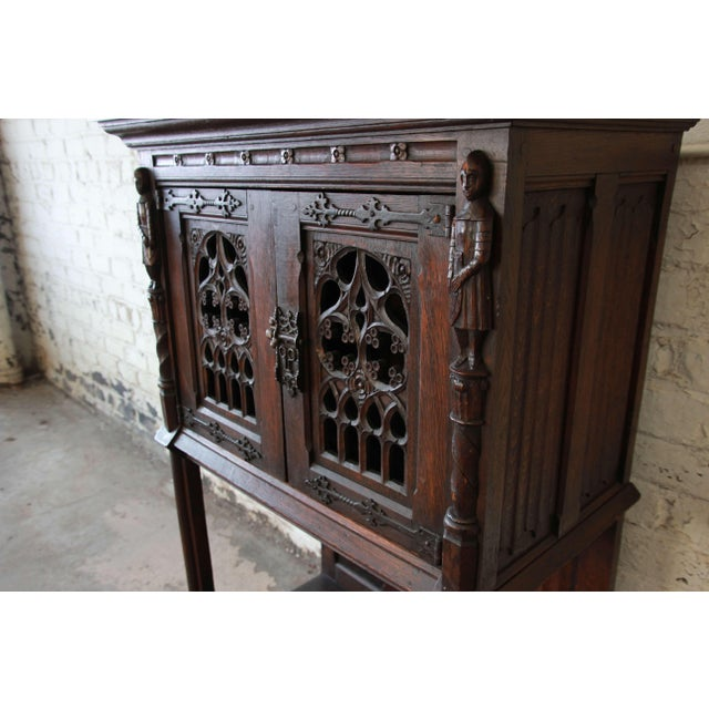 Antique Belgian Dark Oak Gothic Bar Cabinet, Circa 1850s For Sale In South Bend - Image 6 of 11