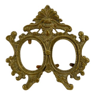 Heavy Brass Tabletop Double Picture Frame For Sale