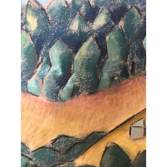 """1930s Signed Chalk California Landscape """"Larkspur"""" For Sale - Image 4 of 8"""