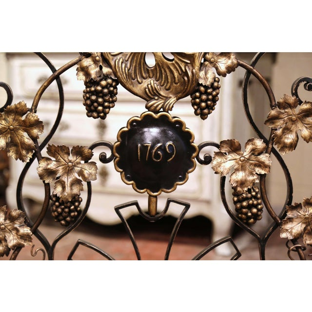 French Mid-20th Century French Louis XV Wrought Iron Fireplace Screen With Vine Motifs For Sale - Image 3 of 10
