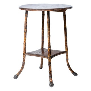 1930s Scorched Root Bamboo Round Two Tier Side Table For Sale