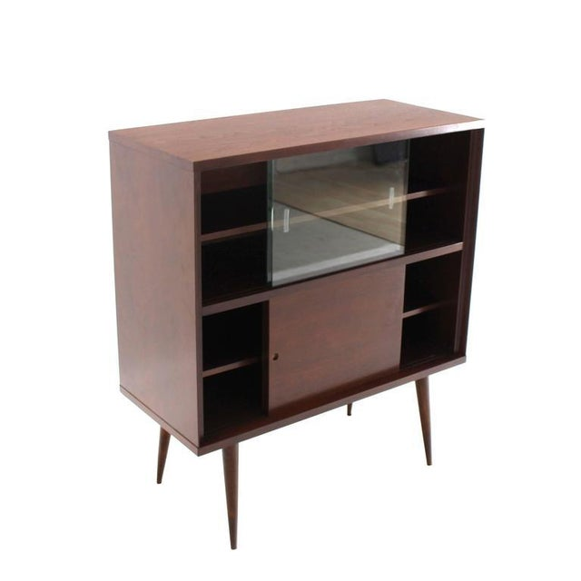 Early 20th Century Mid-Century Modern Walnut Cabinet with Sliding Glass Doors For Sale - Image 5 of 6