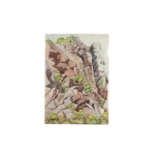 Antique Rocks Watercolor Painting For Sale