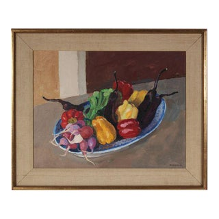 Garden Vegetables Still Life Painting in Oil For Sale