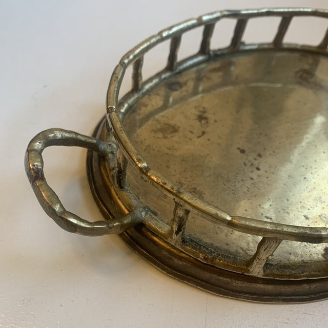 Boho Chic Vintage Brass Bamboo Tray For Sale - Image 3 of 6