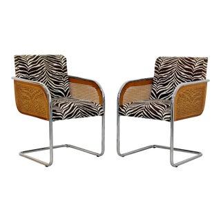 Mid-Century Modern Pair Chrome Rattan Armchairs 1970s Zebra For Sale