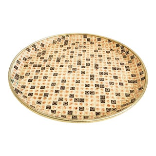 Mid Century Large Round Mosaic Tile Tray For Sale