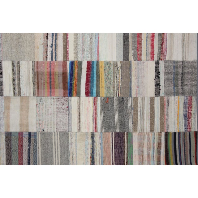 "Aara Rugs Inc. Hand Knotted Patchwork Rug - 11'5"" X 8'1"" For Sale - Image 4 of 4"
