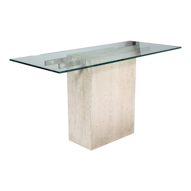 Travertine and Chrome Console Table by Ello Furniture - Image 1 of 8